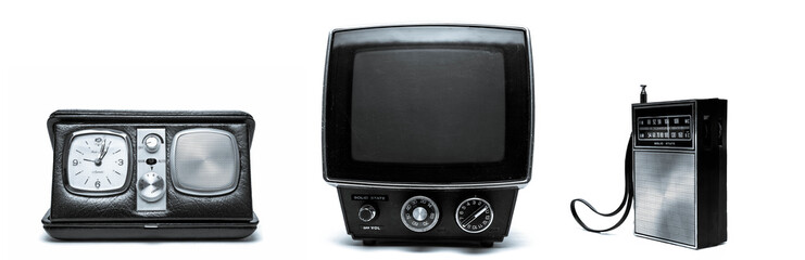 Vintage Clock, Television and Transistor Radio
