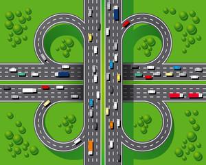 an overpass as part of a highway