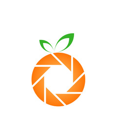 Photography Aperture in an orange- Logo for photographer