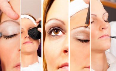 Fotocollage einer echten Kosmetik Session