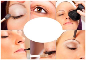 Collage einer Kosmetikbehandlung mit Textfreiraum