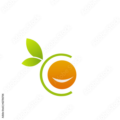 Smiling orange in alphabet C- citrus fruit logo
