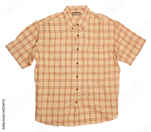 Man's brown orange cotton plaid shirt