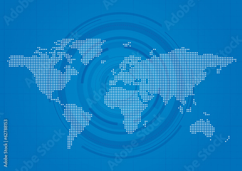 Technical World Map Background