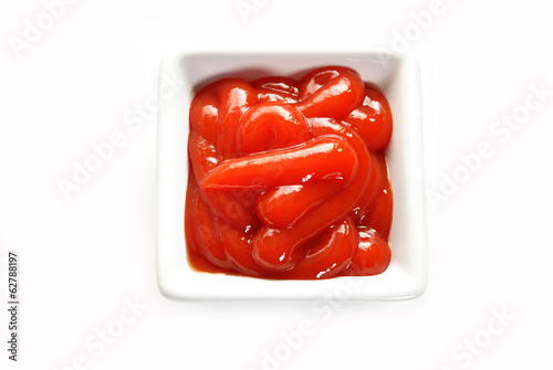 Creamy Catsup in a Square Bowl