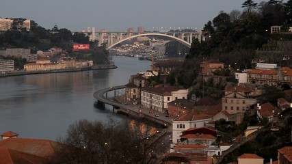 The Douro river passing through the city of Porto, Portugal