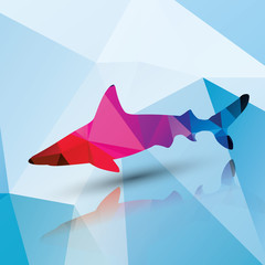 Geometric polygonal shark, pattern design, vector