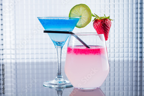 Cocktail with blue caracao caviar