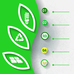 Green infograhpic background with five labels. Eps10
