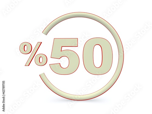 White fifty percent off. Discount 50%. 3D illustration.