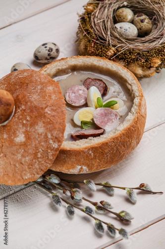 Polish easter soup with egg and sausage - 62789711