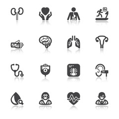Medical specialties. Healthcare flat icons with reflection