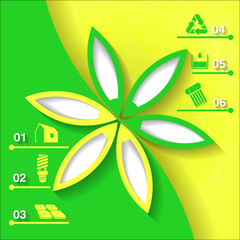 Green and yellow infograhpic background with flower. Eps10