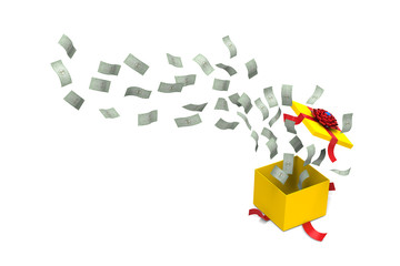 3D model of dollar bank splashed out from a yellow gift box