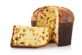 Fototapety Panettone, italian Christmas cake isolated, clipping path