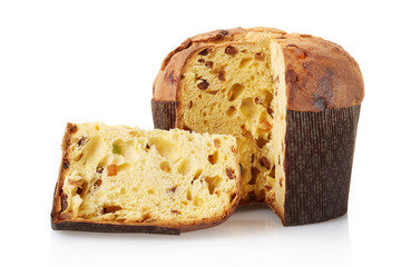 Panettone, italian Christmas cake isolated, clipping path