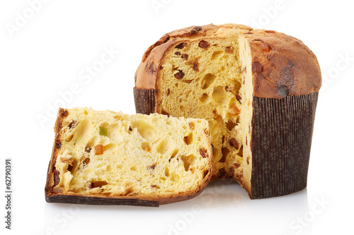 Staande foto Brood Panettone, italian Christmas cake isolated, clipping path
