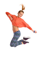 Zumba dancer jumping