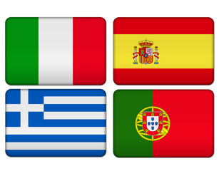 Italy, Spain, Portugal, Greece icon flag button