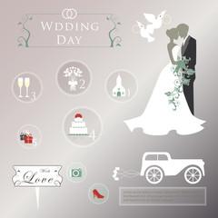 Set of wedding invitation vintage design elements