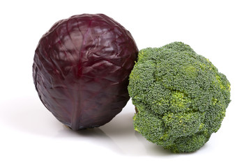 Two types of cabbage: red scotch kale and green broccoli.