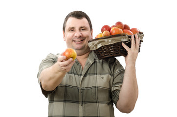 Smiling farmer offering one apple for you