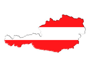 Austria map flag plan banner