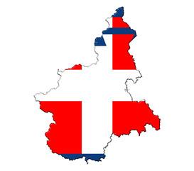 Piedmont flag map banner Piemonte