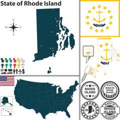 Map of state Rhode Island, USA