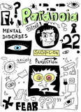 doodle concept of paranoia, mental disorders poster