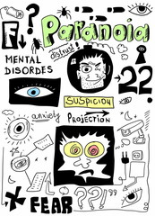 doodle concept of paranoia, mental disorders