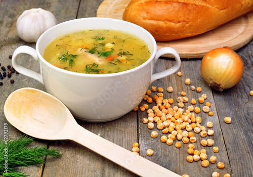 pea soup with vegetables and bread