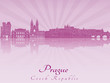 Prague skyline in purple radiant orchid