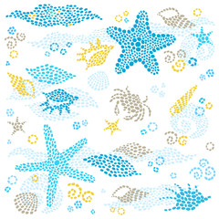 Vector set of sea element and seashells. Marine life pattern.