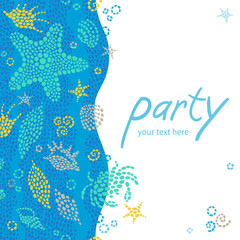 Bright invitation cards with sea elements.