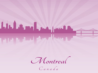 Montreal skyline in purple radiant orchid