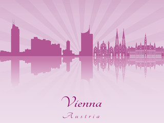 Vienna skyline in purple radiant orchid