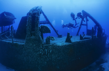 Italy, Tyrrhenian sea, U.W. photo, wreck diving, sunken ship