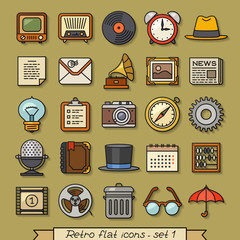 Retro flat line icons - set 1