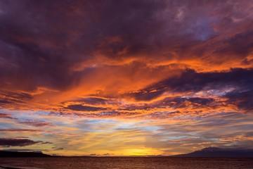 Dramatic fiery orange sunset in Siquijor