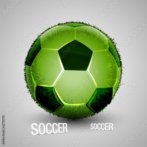 green grass soccer ball white