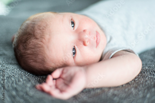 Selective focus portrait of a baby boy