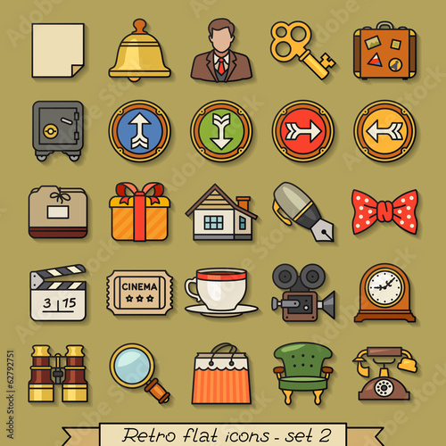 Retro flat line icons - set 2