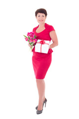 happy woman with flowers and gift box isolated on white
