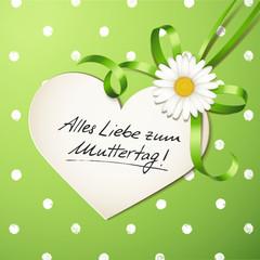 Margeritenschleife mit Herzkarte, Muttertag - Polka Dots
