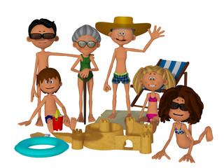 3d cartoon family on the beach