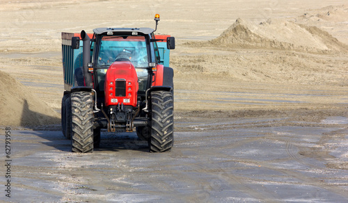Work Vehicle on a Sandy Beach