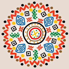 Round ornament with ethnic motifs