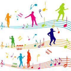 Music note with kids silhouettes dancing