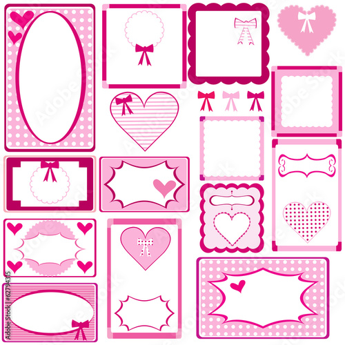 Set of cute pink frames for girls